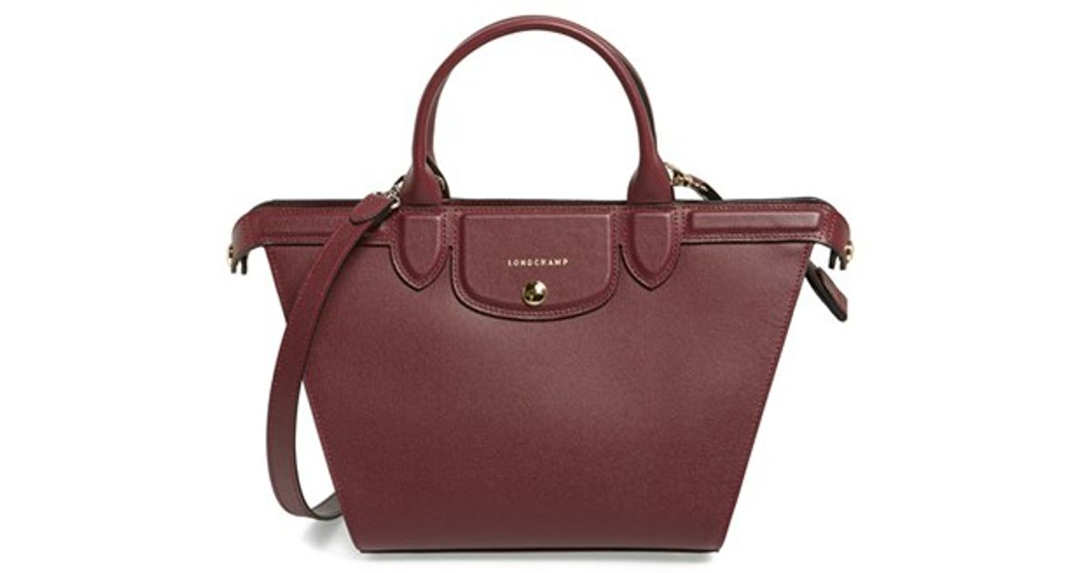 c9658ca6f337 Lyst - Longchamp  medium Le Pliage - Heritage  Leather Satchel - Burgundy  in Red