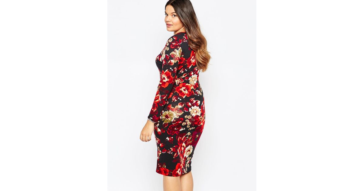 Lyst Club L Plus Size Midi Dress With Plunge Neck In Winter Floral