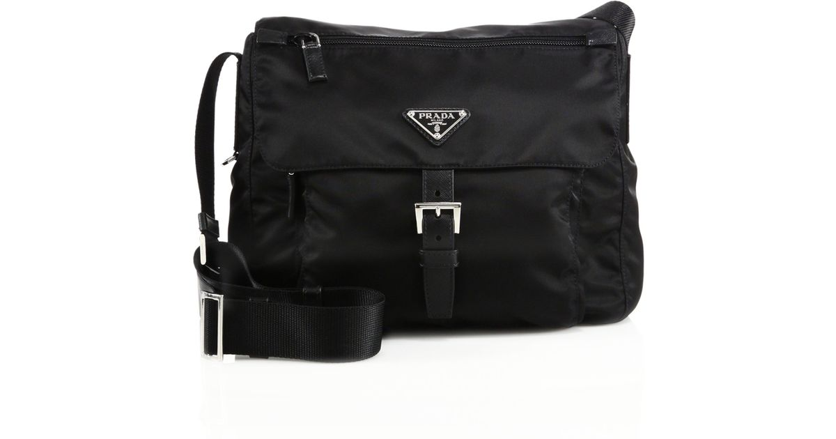 05d31e8457f9 Prada Nylon & Leather Crossbody Bag in Black - Lyst
