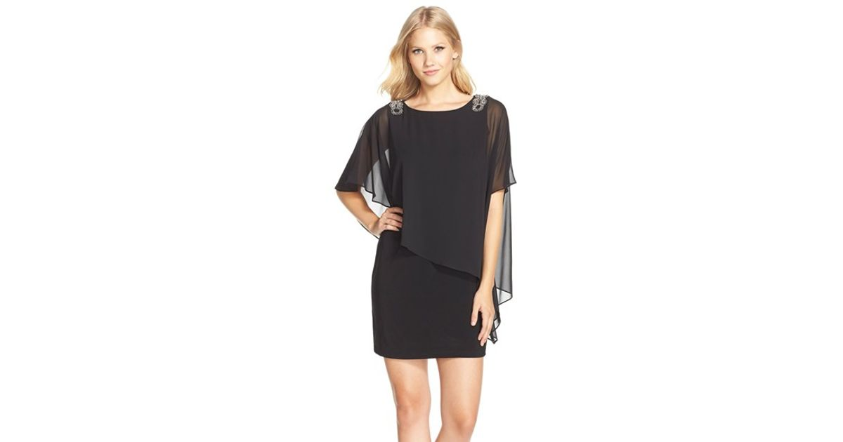 a376848168c Xscape Embellished Chiffon Overlay Jersey Dress in Black - Lyst