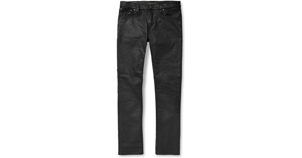 b63304f9f31c7 Lyst - Nudie Jeans Tube Tom Skinnyfit Coated Organicdenim Jeans in Black  for Men