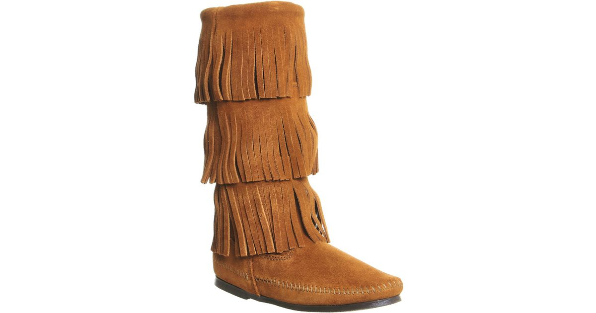 minnetonka calf hi 3 layer fringe boot in brown save 35