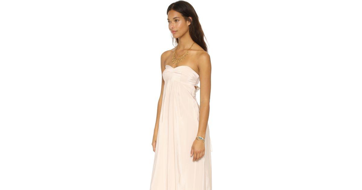 Lyst - Amanda Uprichard Tie Back Silk Maxi Dress in White