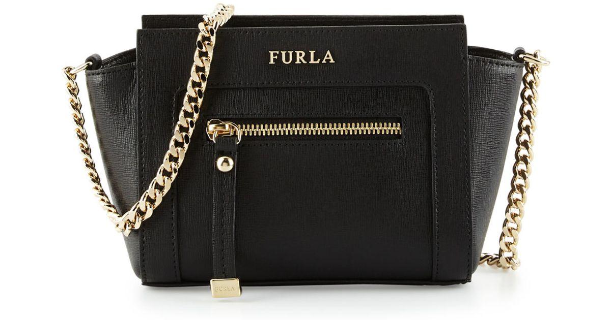Lyst - Furla Ginevra Mini Leather Crossbody Bag in Black