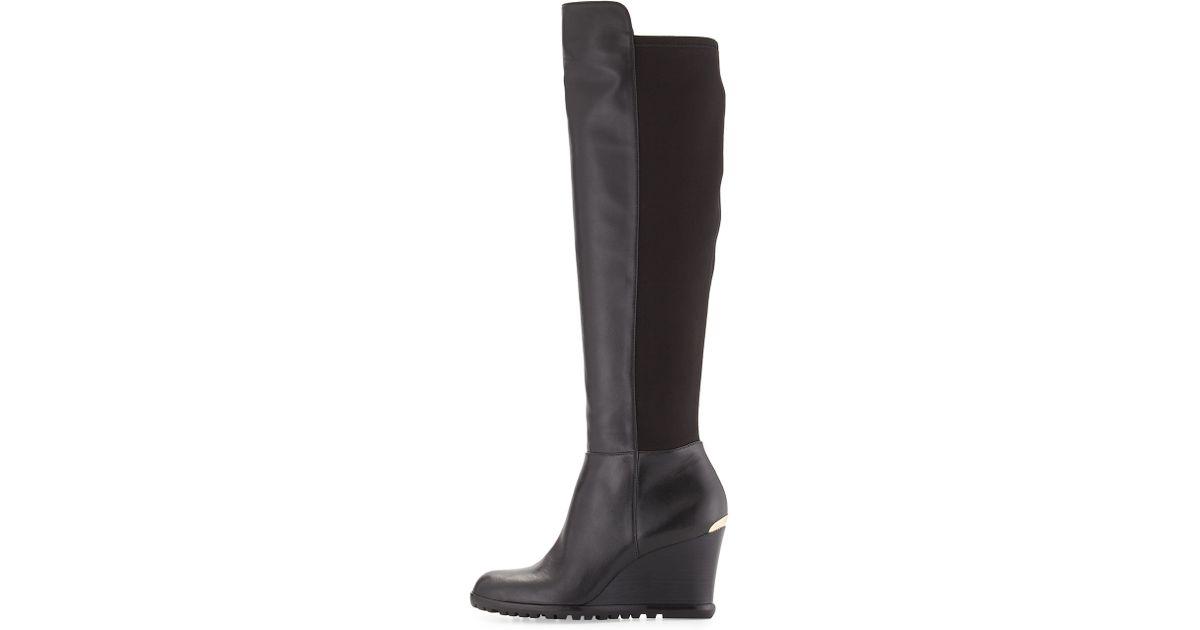 e1cd9442d5dc Lyst - MICHAEL Michael Kors Woods Tall Wedge Boot in Black