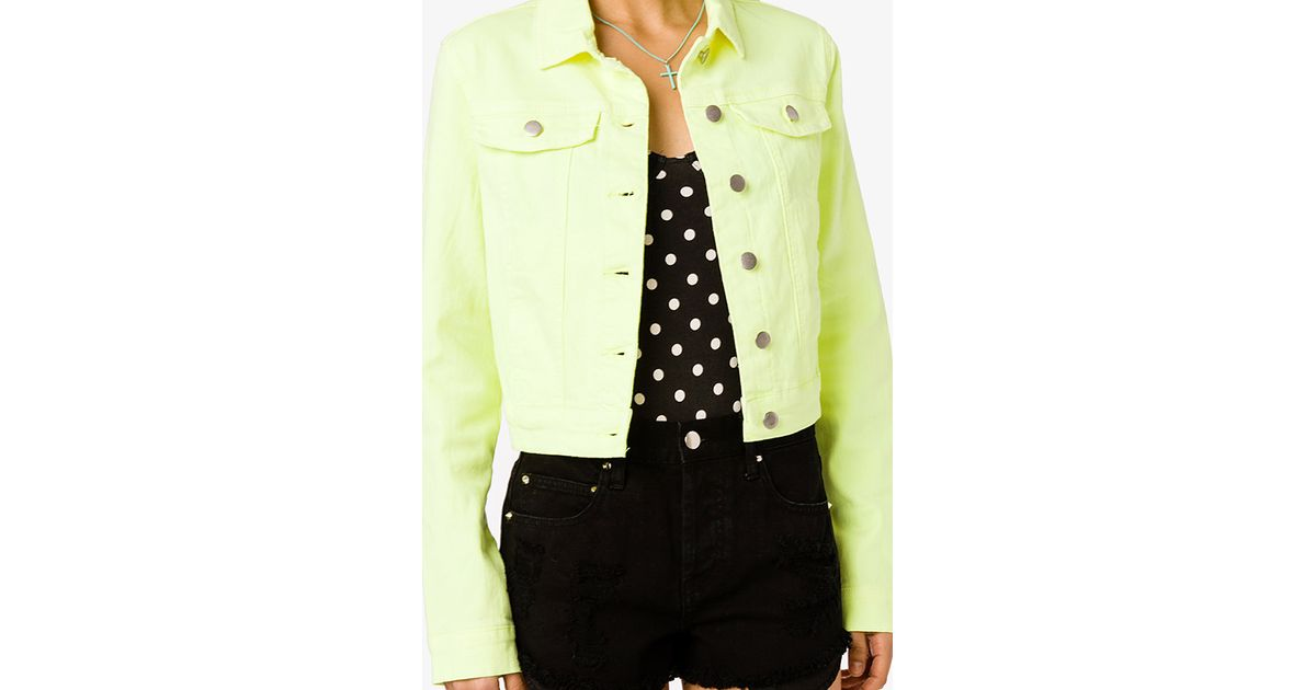 Forever 21 Neon Denim Jacket In Yellow Neon Yellow Lyst