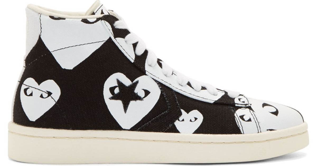 94fa7d82c064f7 Play Comme des Garçons Black   White Heart Print Converse Edition High-top  Sneakers in Black - Lyst