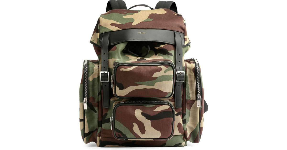 25bfd151d217 Lyst - Saint Laurent Utilitarian Camo-print Backpack in Green for Men