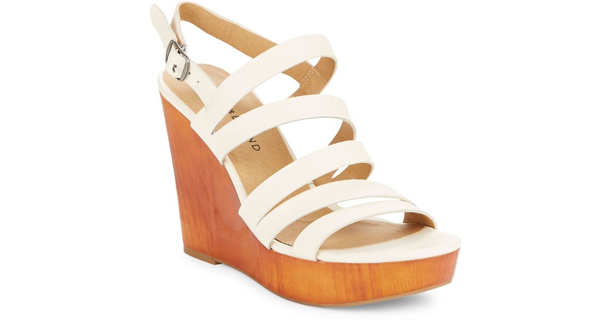 lucky brand larinaa wedge sandals in white linen save