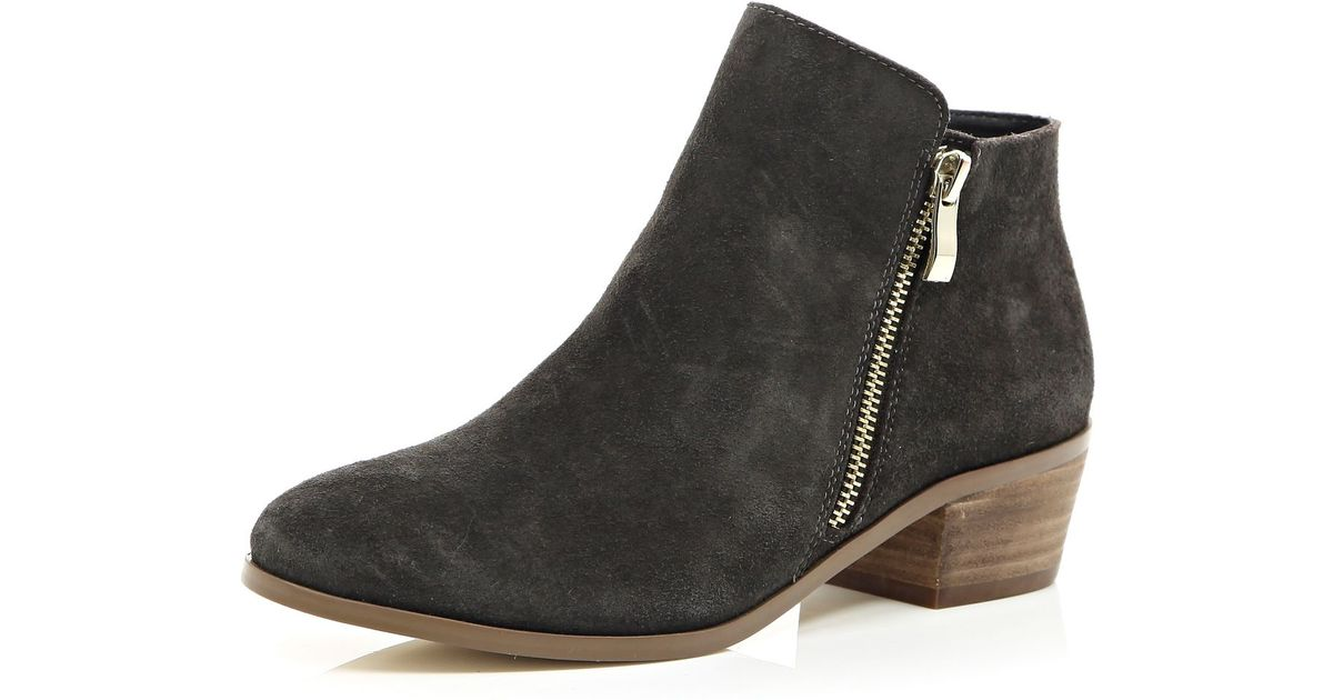 15bb682f1 River Island Grey Suede Zip Side Ankle Boots in Black - Lyst