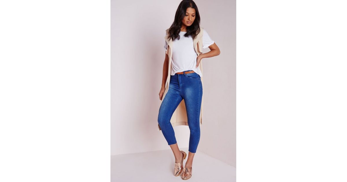 Missguided Cropped High Waist Raw Hem Skinny Jeans Antique Blue in ...
