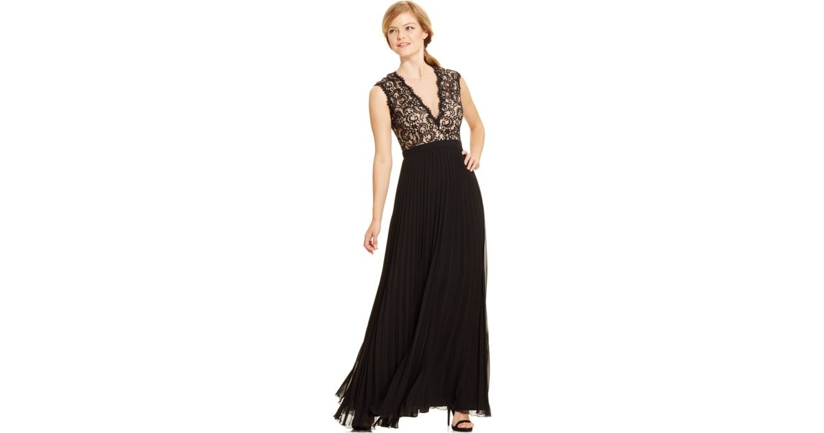 a444776646 Lyst - Xscape Deep-v Lace Pleated Gown in Black