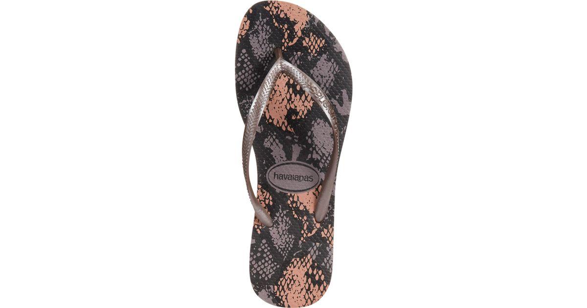 90fba6c35611 Lyst - Havaianas Women s Slim Animal Flip Flops in Gray