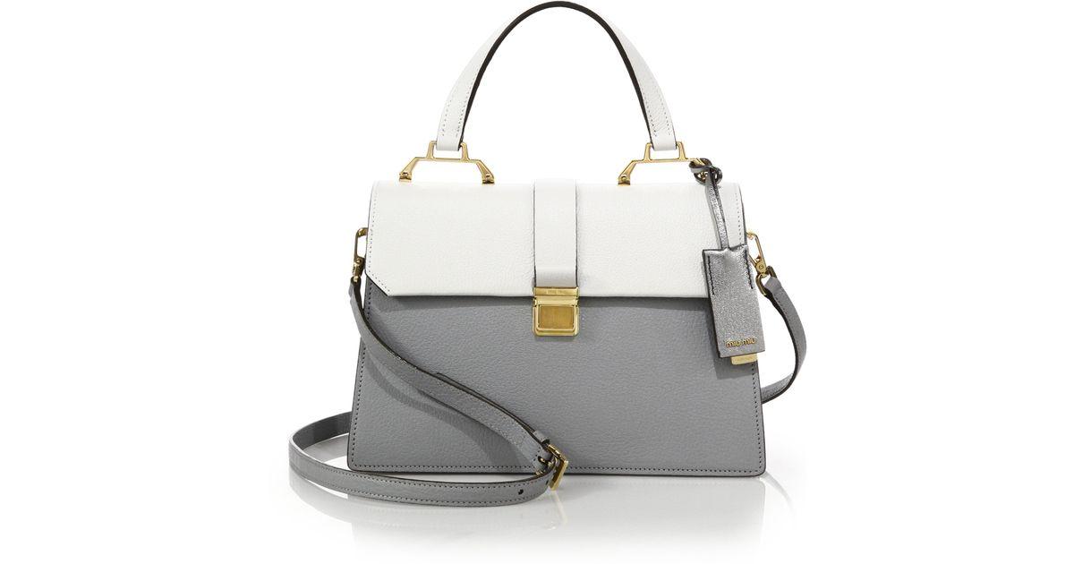 bda3b91dcf2a replica miu miu handbags - Miu miu Madras Two-tone Leather Top-handle  Satchel