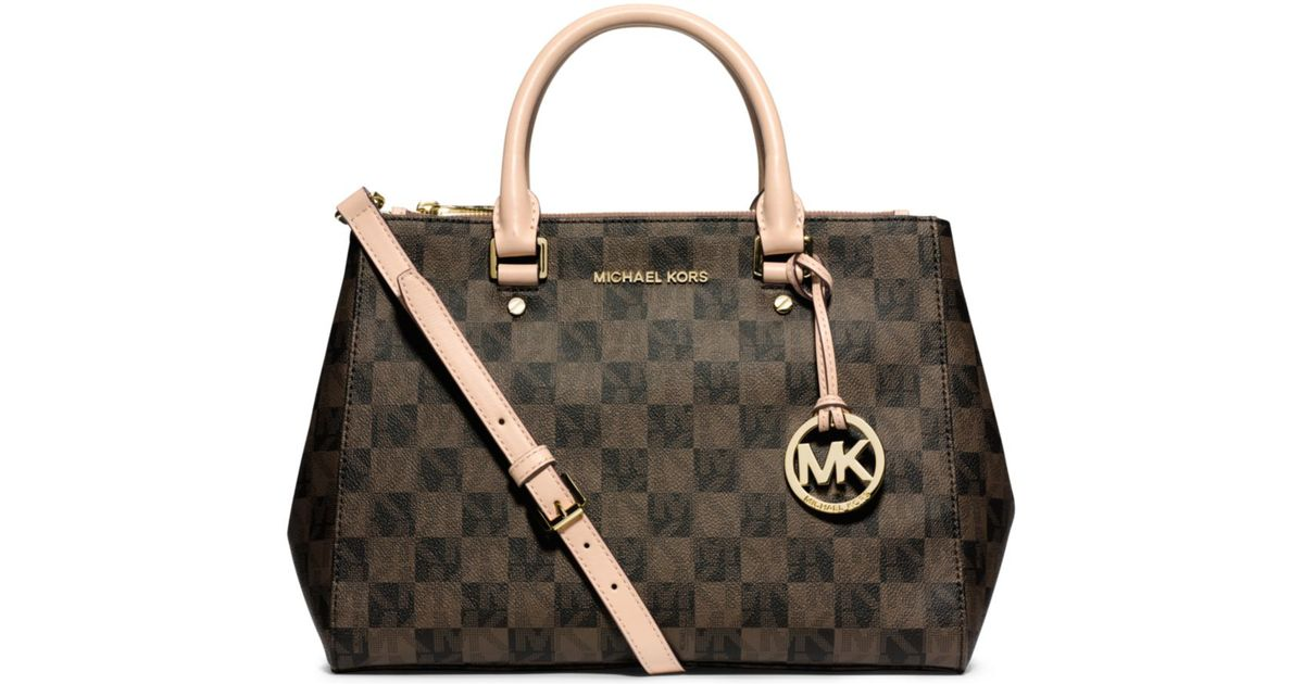 c21b60f4f3aa Michael Kors Cynthia Checkered Bag. Lyst Michael Kors Sutton Logo  Checkerboard Medium Satchel In Black