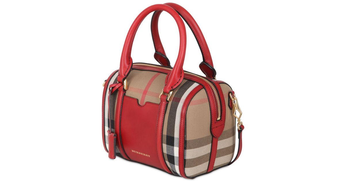 5b0d851aab76 Lyst - Burberry Small Alchester Bridle House Check Bag