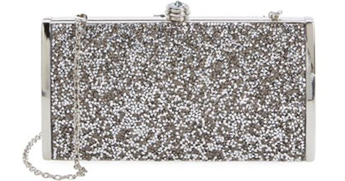 la regale 39 confetti 39 clutch metallic in metallic lyst. Black Bedroom Furniture Sets. Home Design Ideas