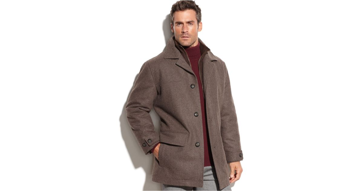 London fog Big And Tall Bristol Wool-Blend Microsuede-Bib Car Coat ...