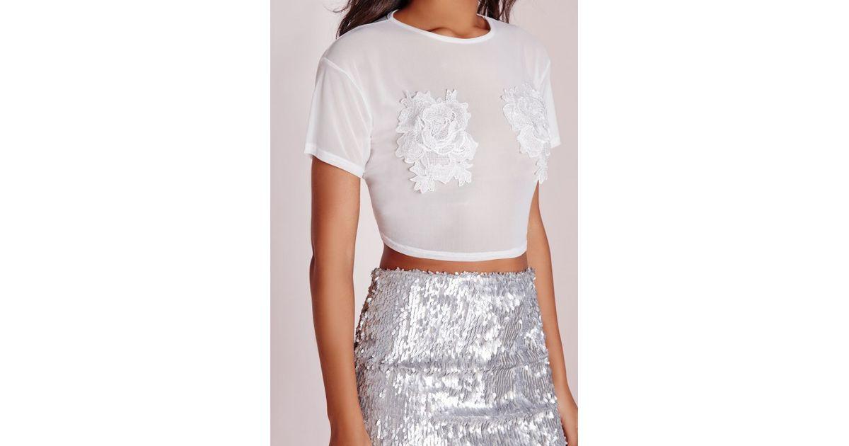 Lyst missguided mesh floral applique crop top white