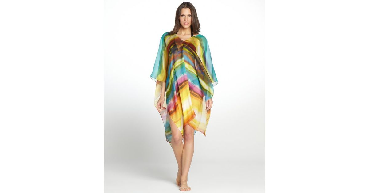 858690b9c7a Lyst - Vitamin A Yellow and Blue Kalahari Marina Silk Poncho Coverup in  Green