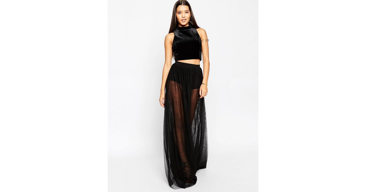 f3be89da89 ASOS Sheer Maxi Skirt With Knicker Short in Black - Lyst