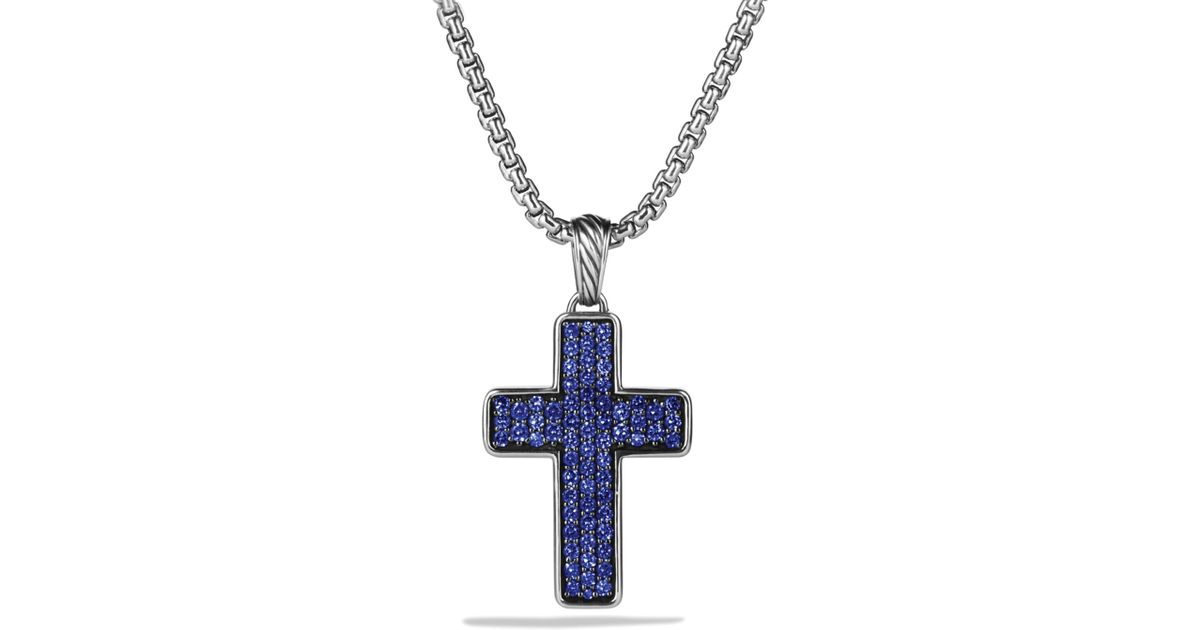 Lyst david yurman chevron cross with blue sapphires on chain in lyst david yurman chevron cross with blue sapphires on chain in metallic for men mozeypictures Images