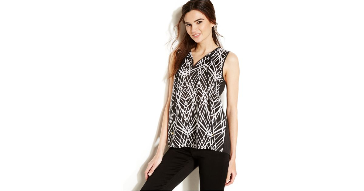 e66ce4f45f99a2 Lyst - Calvin Klein Sleeveless Printed Colorblock Blouse in Black