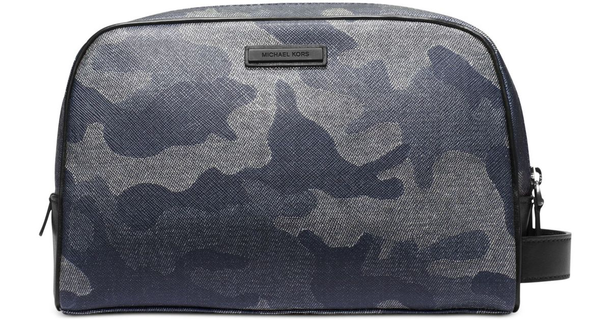 7ccb96f7a4069 Lyst - Michael Kors Jet Set Travel Shadow Double-Zip Toiletry Kit in Blue  for Men