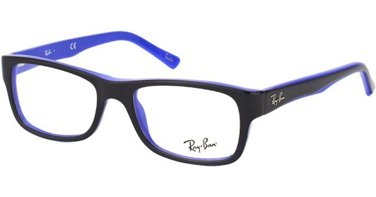602b04efe1d64 Lyst - Ray-ban Rx 5268 5179 Black On Blue Rectangle Plastic Eyeglasses-50mm  in Black