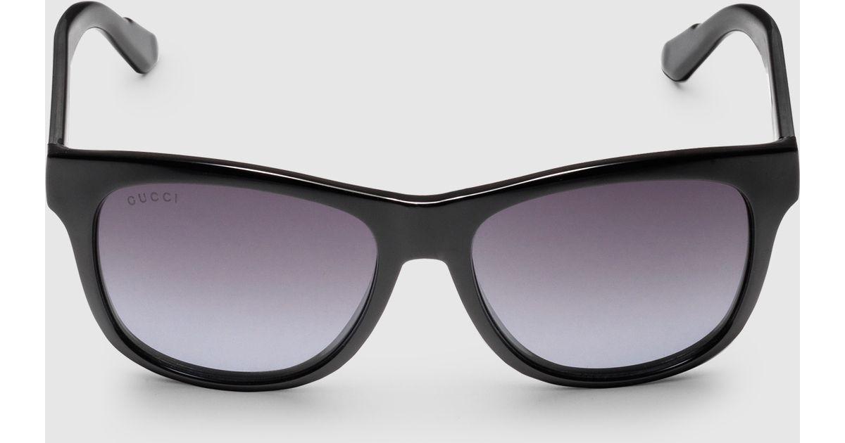 496e949e6c Gucci Bio-based Rectangle Web Sunglasses in Black - Lyst