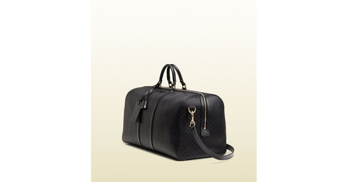 cfbf7092f038 Gucci Bright Diamante Leather Carry-on Duffle Bag in Black - Lyst