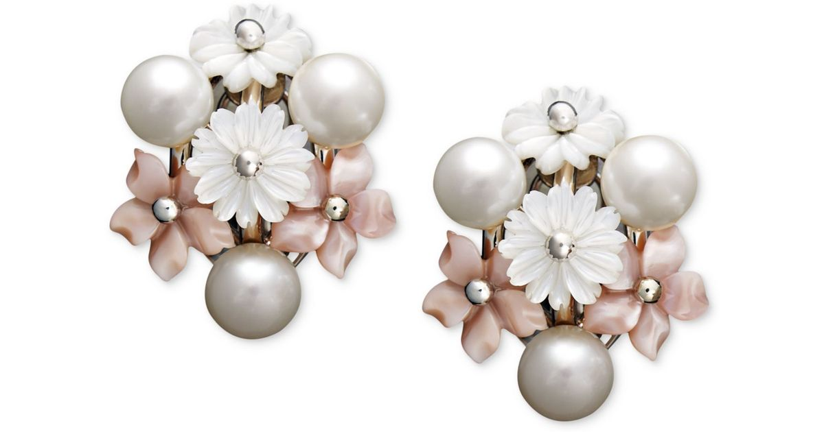 Lyst Macy S Pearl Earrings Sterling Silver Cultured Freshwater Mother Of And Flower In White