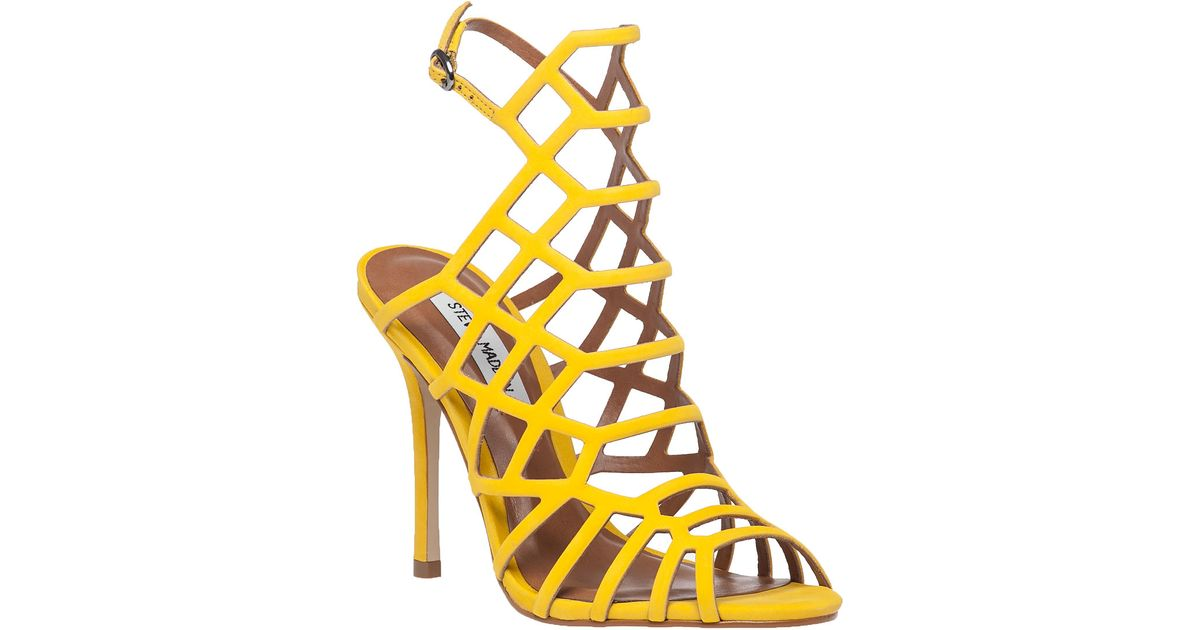 1ceb1e6c89f1bd Lyst - Steve Madden Slithur Yellow Suede Sandal in Yellow