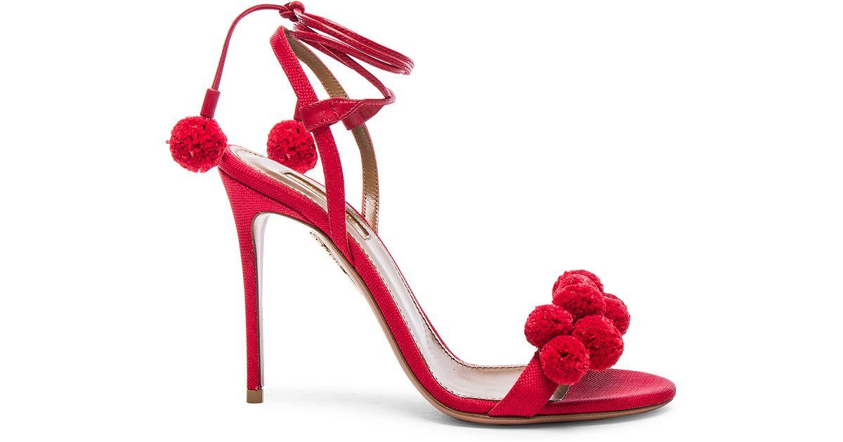 Lyst - Aquazzura Pom Pom Heels in Red b1a1ada6daa7