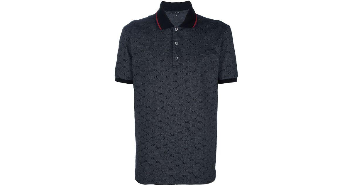 9dc125829e14cc Gucci Monogram Polo Shirt in Black for Men - Lyst