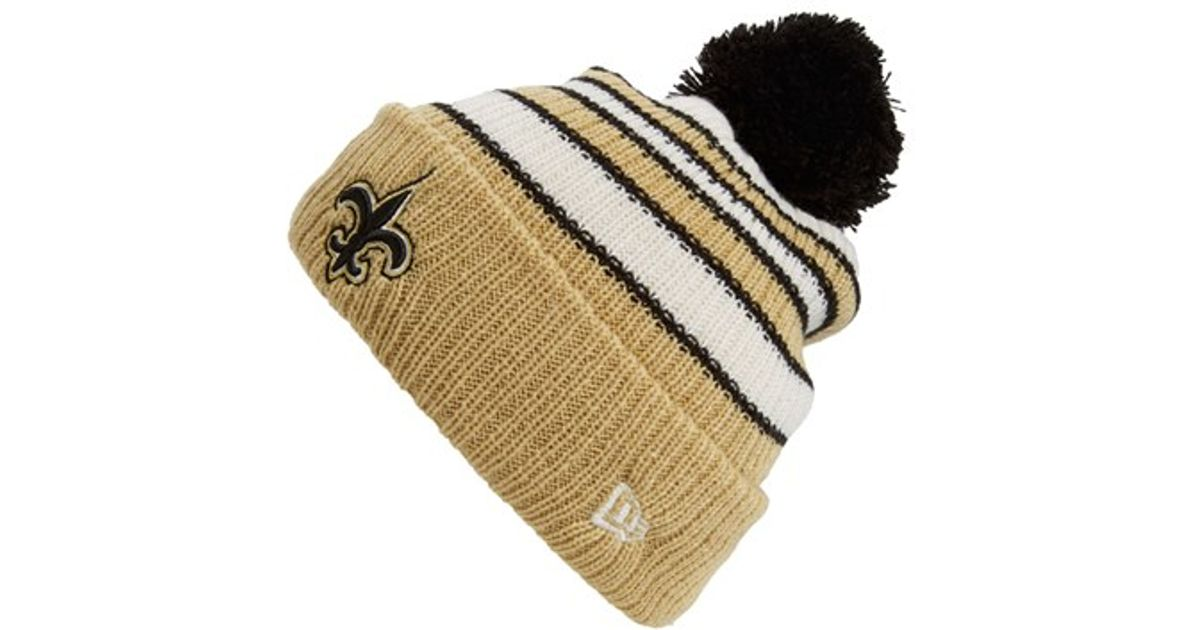 e0ce597672c Lyst - Ktz  traditional Stripe - New Orleans Saints  Pompom Knit Hat in  Black for Men