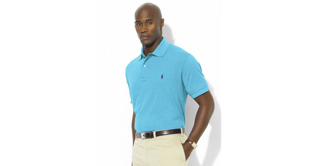 Ralph Lauren Men Long Sleeved Darkblue Soft Mesh Polo