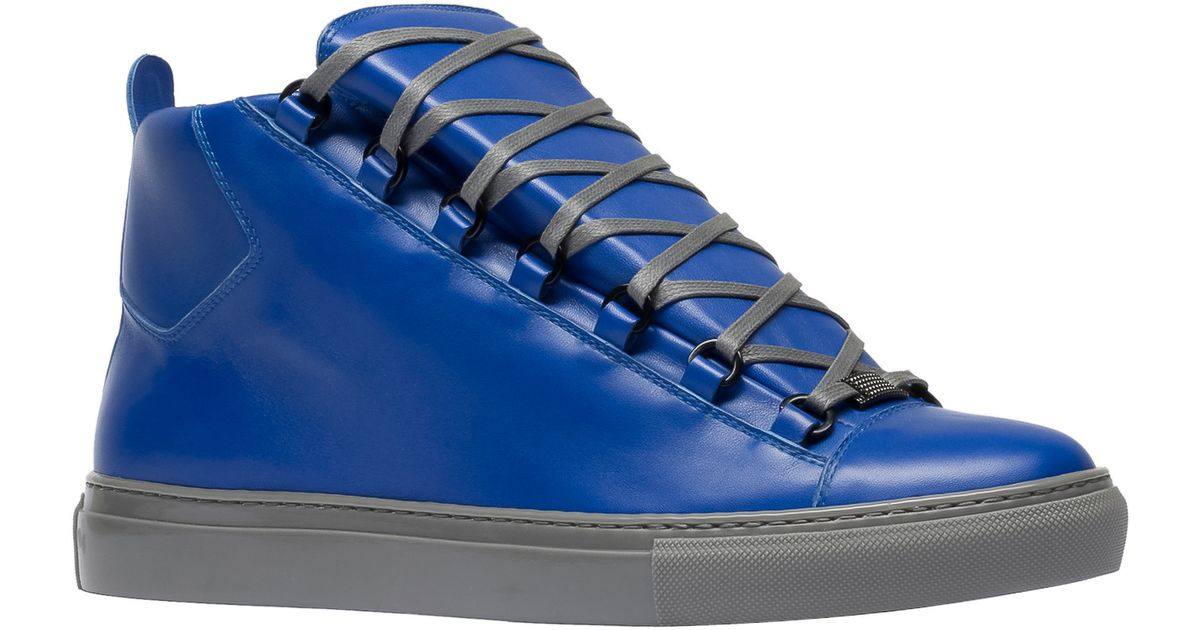 8a7a6b18d1d3e Lyst - Balenciaga Arena Leather High-Top Sneakers in Blue for Men