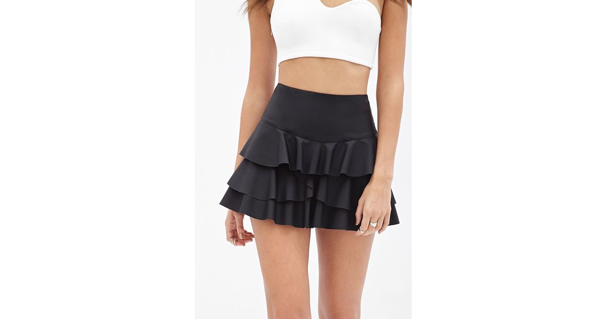 forever 21 ruffled faux leather skirt in black lyst