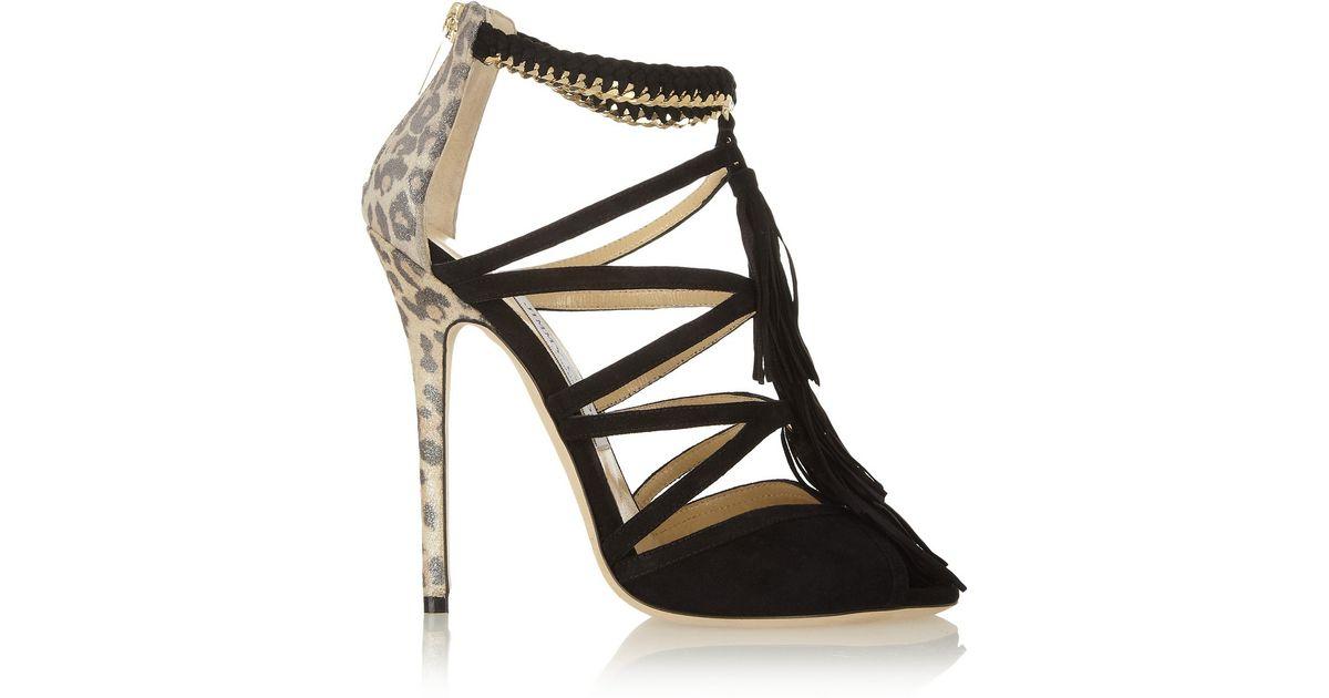 11ee963f2129 Lyst - Jimmy Choo Flambe Tasseled Suede Sandals in Black