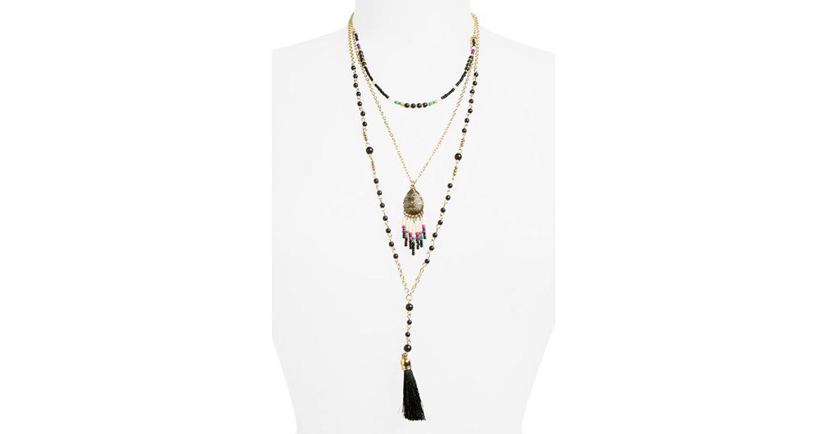 Panacea Triple Layer Tassel Necklace tA7s15Nyy