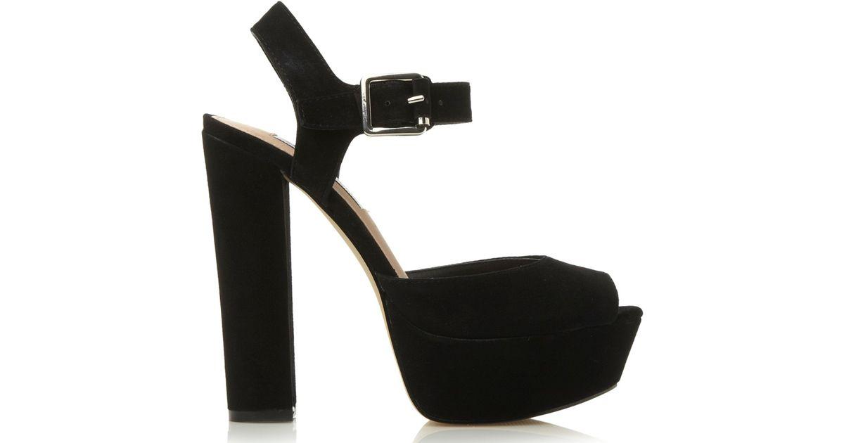 1bdd85b4b7c6 Steve Madden Jillyy Platform Block Heeled Sandals in Black - Lyst