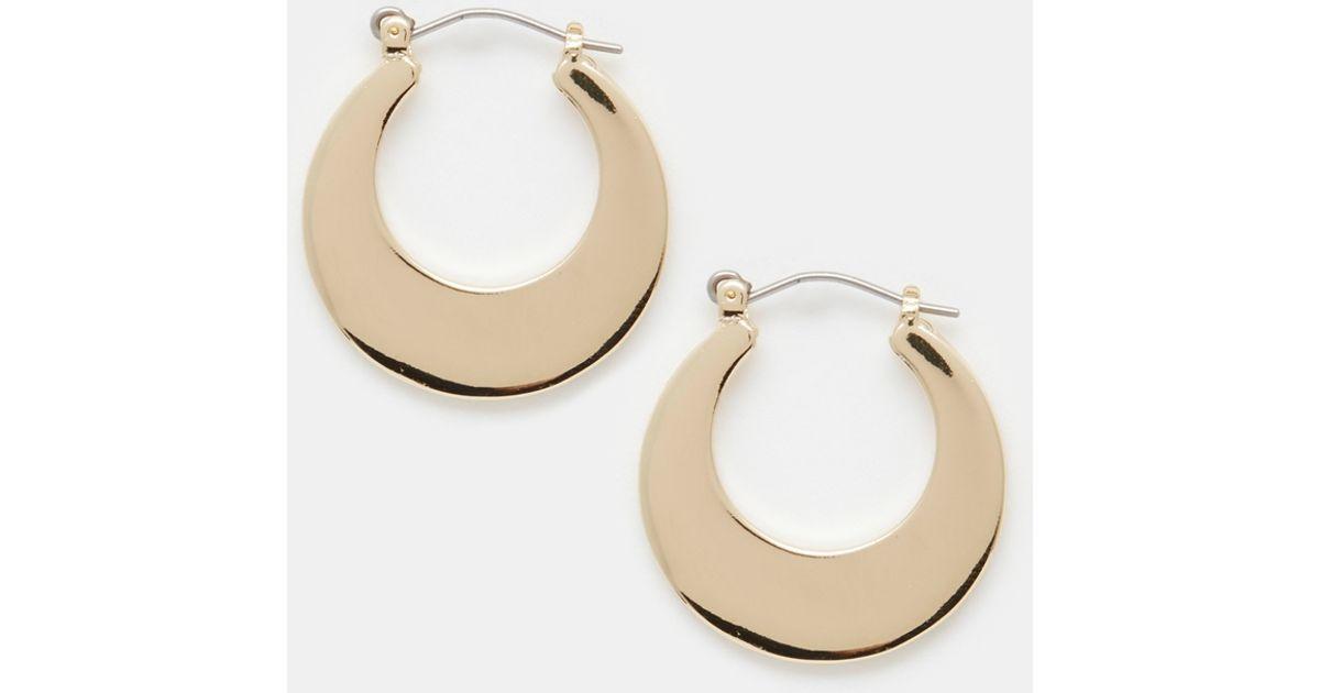 lyst asos 70s midi hoop earrings in metallic
