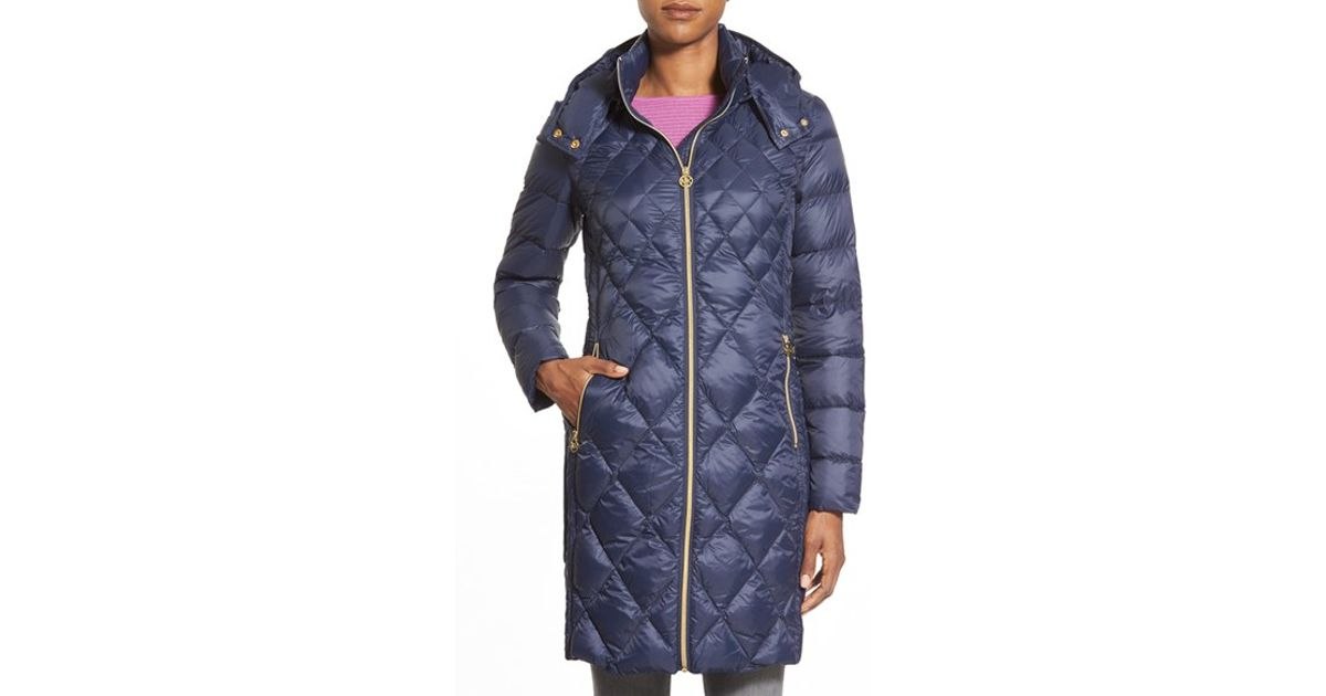 Lyst Michael Michael Kors Packable Diamond Quilted Down Coat Blue