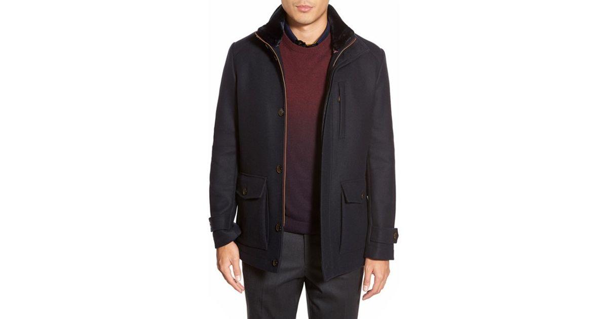760d0d099 Lyst - Ted Baker  bartley  Faux Fur Collar Zip Front Jacket in Blue for Men