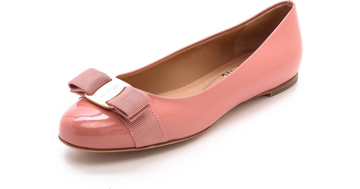 abef47daaec9 Lyst - Ferragamo Varina Patent Flats Blush in Pink
