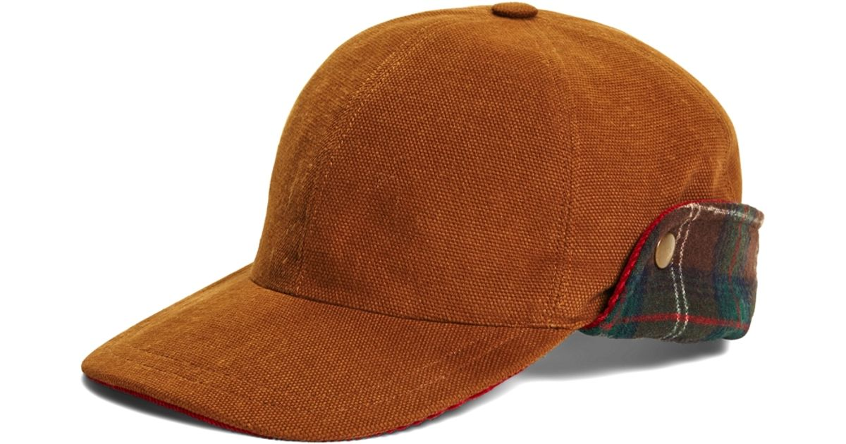 9726f67f Brooks Brothers Pendleton® Baseball Cap With Ear Flaps in Brown for Men -  Lyst
