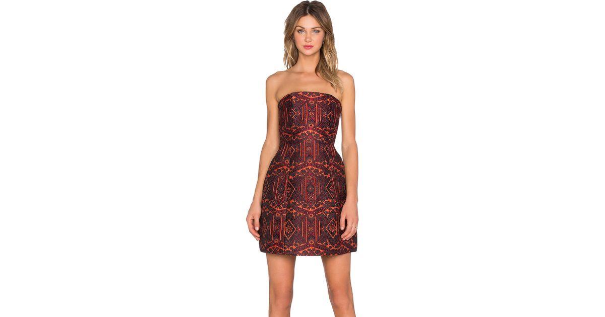 Alice   olivia Nikki Structured Strapless Dress in Orange | Lyst