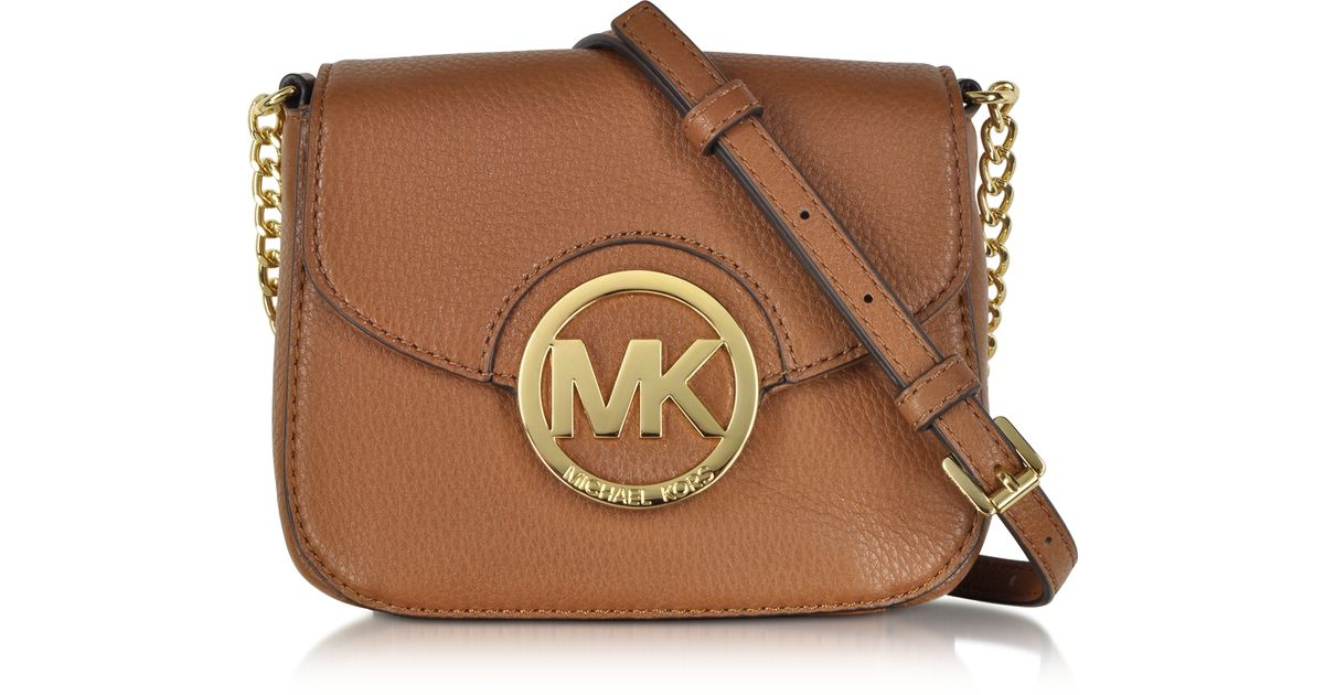 9025d0921d ... new style lyst michael kors fulton luggage leather small crossbody bag  in metallic 65fbf 64cd5