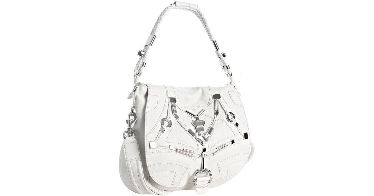 1e5b6f2b5 Lyst - Gucci White Leather Techno Horsebit Large Shoulder Bag in White